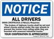 All Drivers Requires OSHA Notice Sign