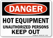 Danger: Hot Unauthorized Persons Keep Out Sign