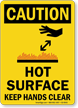 Hot Surface Keep Hands Clear Caution Sign