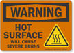 Hot Surface Will Cause Severe Burns Warning Sign