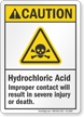Hydrochloric Acid ANSI Caution Sign