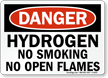 Danger Hydrogen Smoking Flames Sign