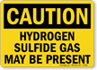 Caution Hydrogen Sulfide Gas Present Sign