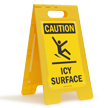 Caution Icy Surface Standing Floor Sign
