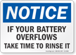 If Your Battery Overflows Rinse It OSHA Notice Sign