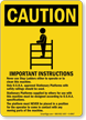 Important Instructions For Use of Ladder Machine Sign