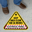 Keep Area Clear for 36 Inches - Electrical Panel, Triangle Floor Sign