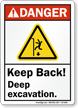 Keep Back, Deep Excavation ANSI Danger Sign