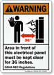 Electrical Panel Keep Clear 36 Inches Warning Sign