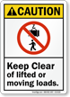 Keep Clear Of Moving Loads ANSI Caution Sign