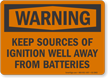 Keep Source Of Ignition Away From Batteries Warning Sign
