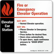 6in. x 6in. Elevator Car Station Emergency Operation Sign