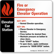 Elevator Car Station Sign, 6in. x 6in.