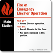 Elevator Main Station Sign, 6in. x 6in.