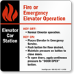 6in. x 6in. Emergency Elevator Car Station Sign
