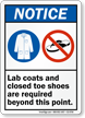 Lab Coats Closed Toe Shoes Required Sign
