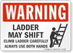 Ladder May Shift Warning Sign