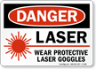 Laser Wear Protective Laser Goggles Danger Sign