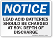 Lead Acid Batteries Depth Of Discharge OSHA Notice Sign