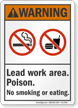 Lead Work Area Poison No Smoking ANSI Warning Sign