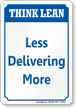 Less Delivering More Think Lean Sign