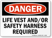 Life Vest Safety Harness Required Danger Sign