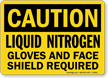 Caution Liquid Nitrogen Gloves Sign