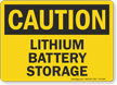 Lithium Battery Storage OSHA Caution Sign
