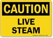 Live Steam OSHA Caution Sign