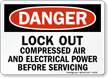 Lock Out Compressed Air Before Servicing Sign
