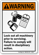 Lockout Machinery Prior To Servicing ANSI Warning Sign