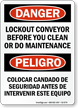 Lockout Conveyor Before Clean Do Maintenance Bilingual Sign