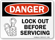 Danger Sign: Lockout Before Servicing (with lock graphic)