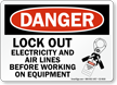 Lockout Electricity Airlines Before Working On Equipment Sign