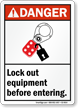 Lock Out Equipment Before Entering Danger Sign