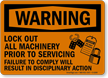 Lockout All Machinery Prior To Servicing Warning Sign