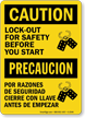 Caution / Precaucion Sign: Lockout For Safety