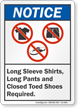 Long Sleeve Shirts Pants Toed Shoes Required Sign