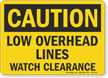 Low Overhead Lines Watch Clearance OSHA Caution Sign