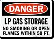 Danger LP Gas Storage No Smoking Sign