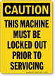 Caution Sign: Machine Must Be Locked Out vertical)