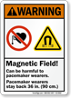 Magnetic Field Pacemaker Wearers Stay Back Warning Sign
