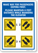 Maintain 6 Ft Distance While Boarding The Elevator Sign