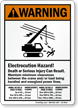 Electrocution Hazard, Maintain Minimum Clearance Crane Safety Sign