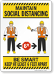 Maintain Social Distancing Keep At Least 6 Ft Apart Sign