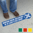 Maintain Social Distancing Of At Least 6 Ft Apart Floor Sign