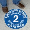 Maintain Social Distancing Select Maximum Persons Floor Sign