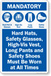 Mandatory Hard Hat Safety Glasses Vest Pants Sign