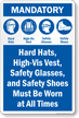 Mandatory Hard Hat Safety Glasses Vest Shoes Sign