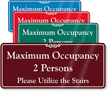Maximum Occupancy 2 People Utilize The Stairs ShowCase Sign